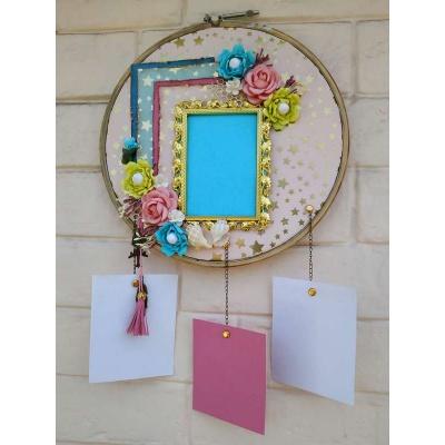 The Pink Umbrella  Golden Frame with Handmade flowers Memory Catcher  pink umbrella hitchki creative handmade gifts 02 0017