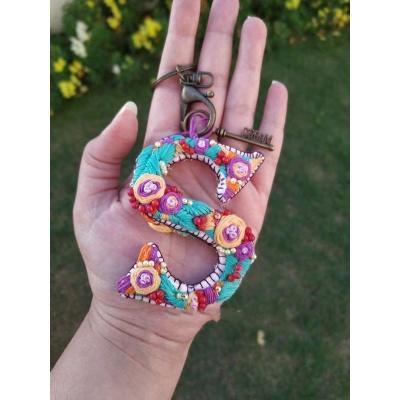 Hand Embroidered Initial Keyring  pink umbrella hitchki creative handmade gifts 02 0031