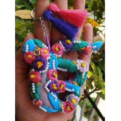 The Pink Umbrella  Hand Embroidered Keyring Car Hanging  pink umbrella hitchki creative handmade gifts 02 0032