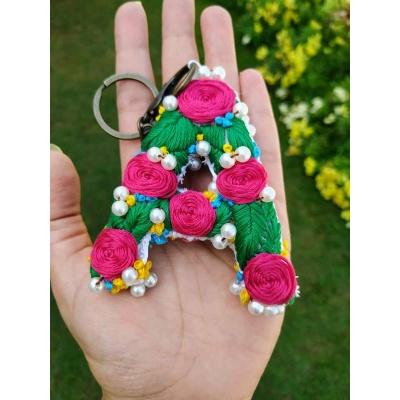 Hand Embroidered Initial Keyring  pink umbrella hitchki creative handmade gifts 02 0033