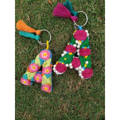 Hand Embroidered Initial Keyring  pink umbrella hitchki creative handmade gifts 02 0034