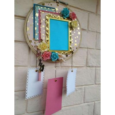 The Pink Umbrella  Golden Frame with Handmade flowers Memory Catcher  pink umbrella hitchki creative handmade gifts 02 0039