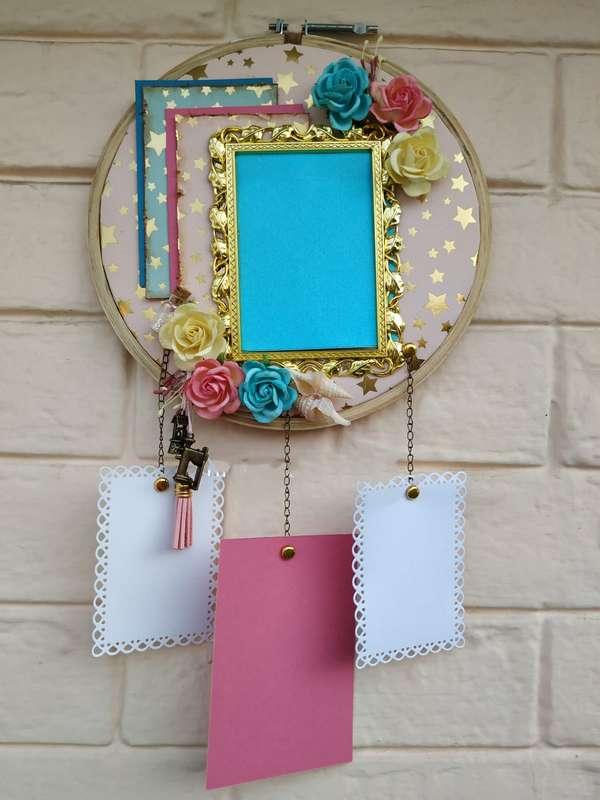 The Pink Umbrella  Golden Frame with Handmade flowers Memory Catcher  pink umbrella hitchki creative handmade gifts 02 0040