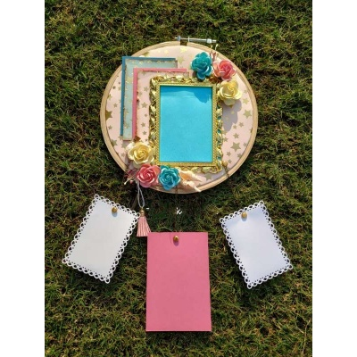 The Pink Umbrella  Golden Frame with Handmade flowers Memory Catcher  pink umbrella hitchki creative handmade gifts 02 0041