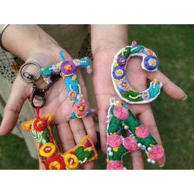Hand Embroidered Initial Keyring  pink umbrella hitchki creative handmade gifts 04 0001