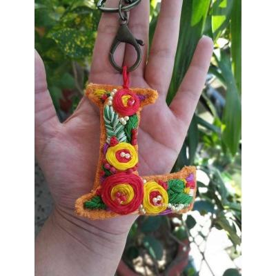 Hand Embroidered Initial Keyring  pink umbrella hitchki creative handmade gifts 05 0001