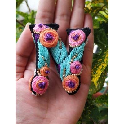 Hand Embroidered Initial Keyring  pink umbrella hitchki creative handmade gifts 05 0003