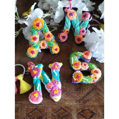 Hand Embroidered Initial Keyring  pink umbrella hitchki creative handmade gifts 05 0004