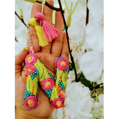 Hand Embroidered Initial Keyring  pink umbrella hitchki creative handmade gifts 06 0001