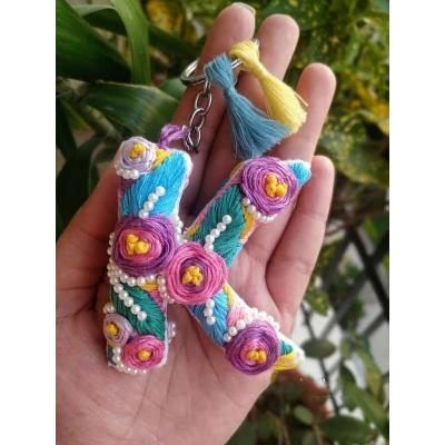 Hand Embroidered Initial Keyring  pink umbrella hitchki creative handmade gifts 06 0002
