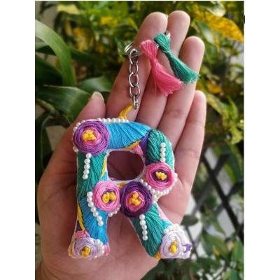 Hand Embroidered Initial Keyring  pink umbrella hitchki creative handmade gifts 06 0003