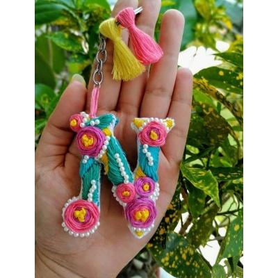 Hand Embroidered Initial Keyring  pink umbrella hitchki creative handmade gifts 06 0004