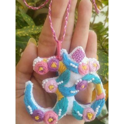 The Pink Umbrella  Hand Embroidered Keyring Car Hanging  pink umbrella hitchki creative handmade gifts 10 0001 4