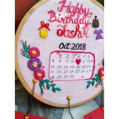 Hand Embroidered Wall Calendar HoopsThe Pink Umbrella  pink umbrella hitchki creative handmade gifts 10 0008 2