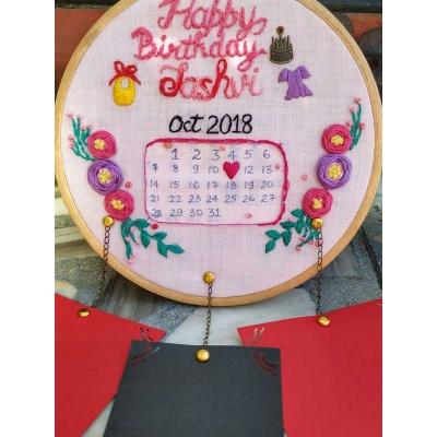 Hand Embroidered Wall Calendar HoopsThe Pink Umbrella  pink umbrella hitchki creative handmade gifts 10 0009 2