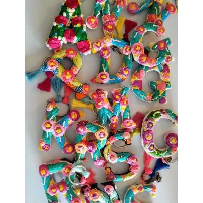 Hand Embroidered Initial Keyring  pink umbrella hitchki creative handmade gifts 10 0009 3