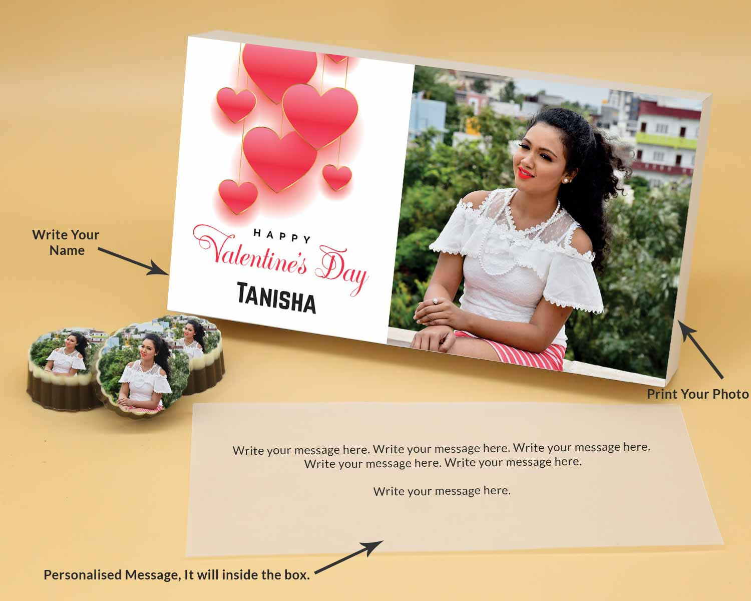 Housewarming Gifts Online In Delhi Engraved nameplate printed chocolates with Name photo message