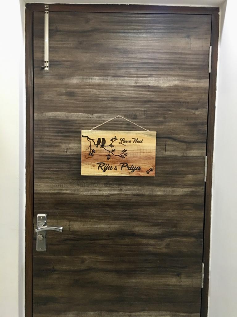 Neem Wood Customized Wooden Nameplate  priya engraved nameplate