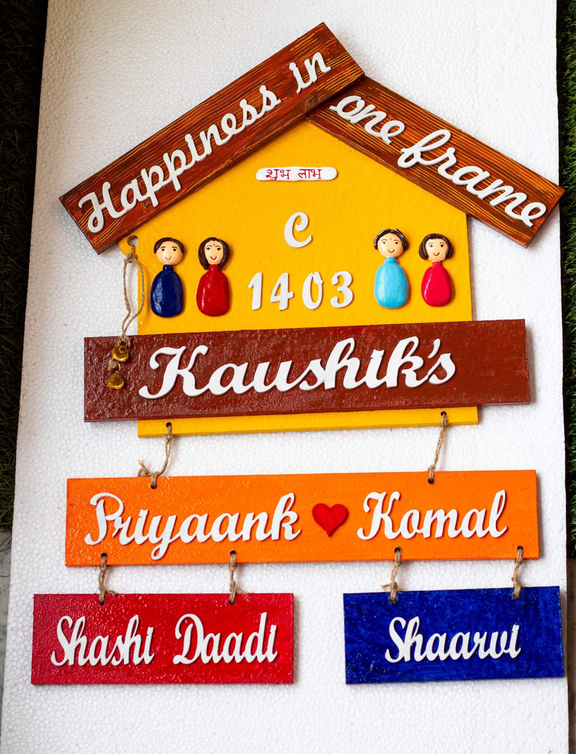 Customize Handmade Designer Big Family Nameplate  customize handmade designer big family plate  2