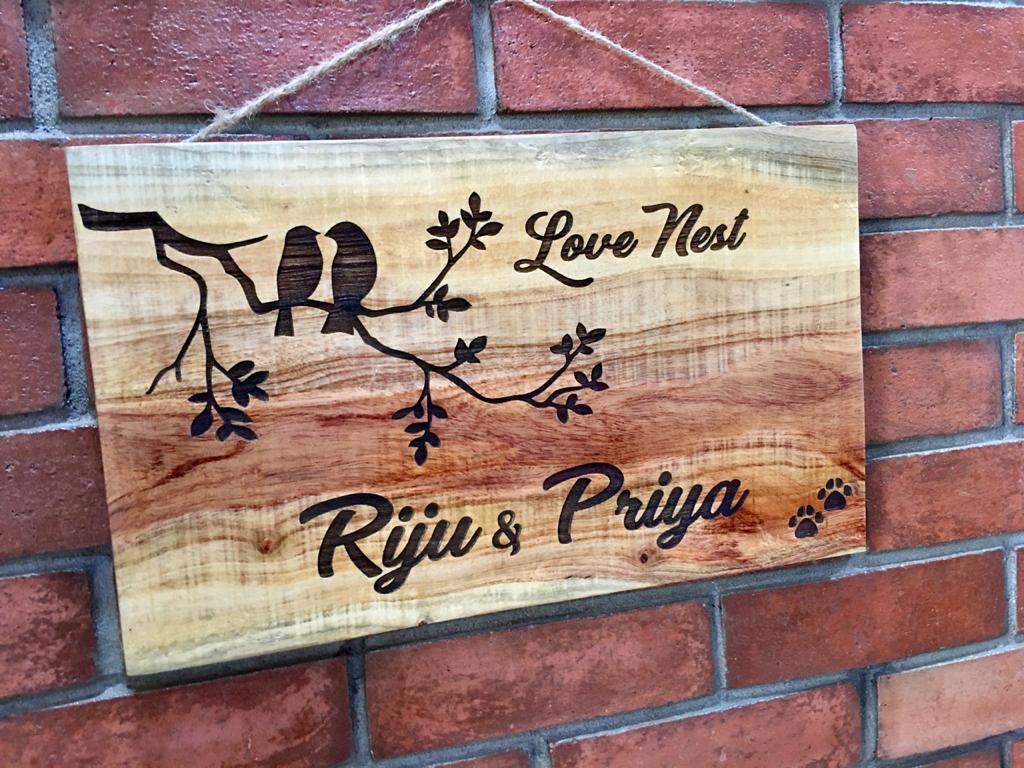 Neem Wood Customized Wooden Nameplate  riju 2 Engraved nameplate