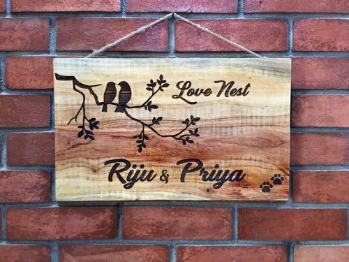 Neem Wood Customized Wooden Nameplate  engraved nameplate