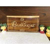 sheesham wood engraved nameplate