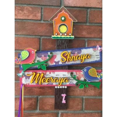 Name Plate for kids Room  Girls Sibbling  shnaya bird kids house nameplate