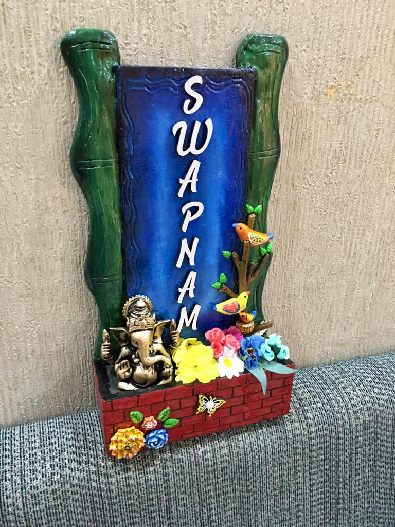 Vertical Bamboo With Ganesha Wooden Nameplate  swapnam 4 bamboo wooden nameplate