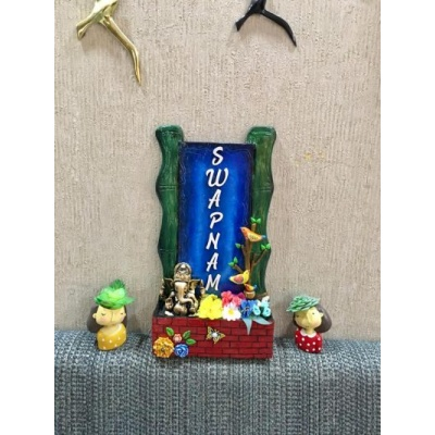 Vertical Bamboo With Ganesha Wooden Nameplate  swapnam 5 bamboo wooden nameplate