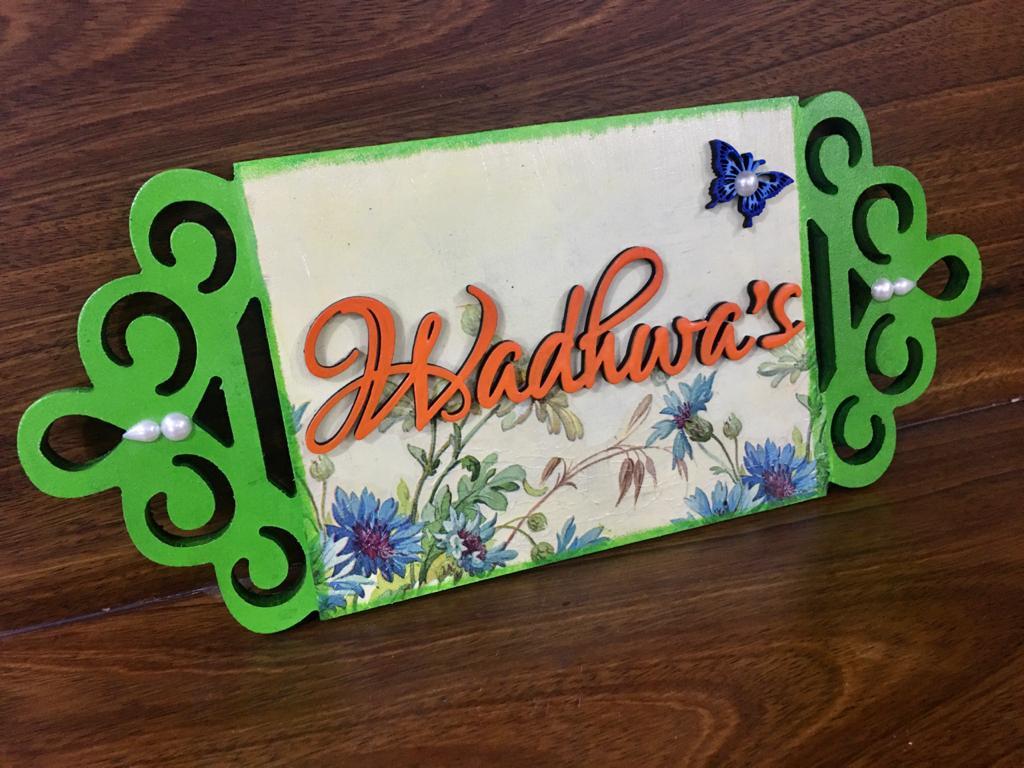 Laser cut decoupage Wooden Nameplate  wadhwa ledger cut wooden nameplate