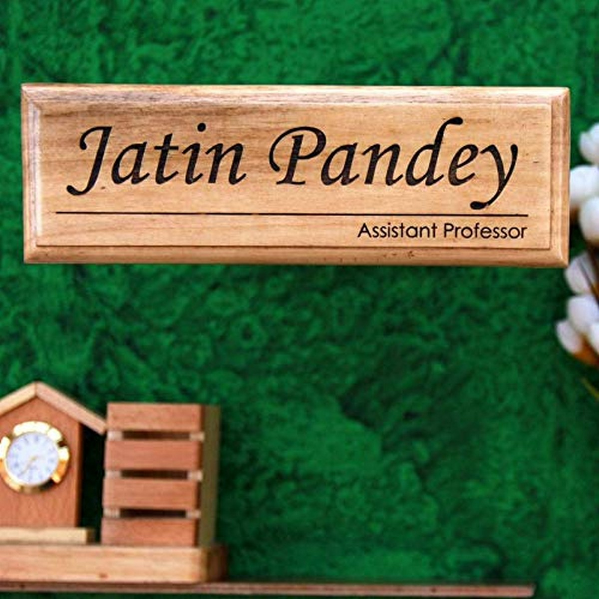Personalized Wooden Nameplate For Assistant Professor  Birch wood   wood name plate