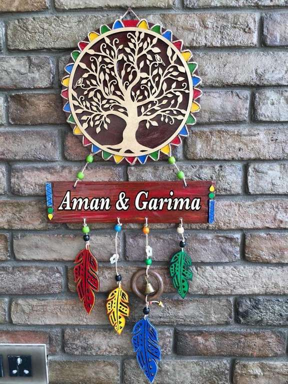 wooden name plates house office door wall flat bungalow