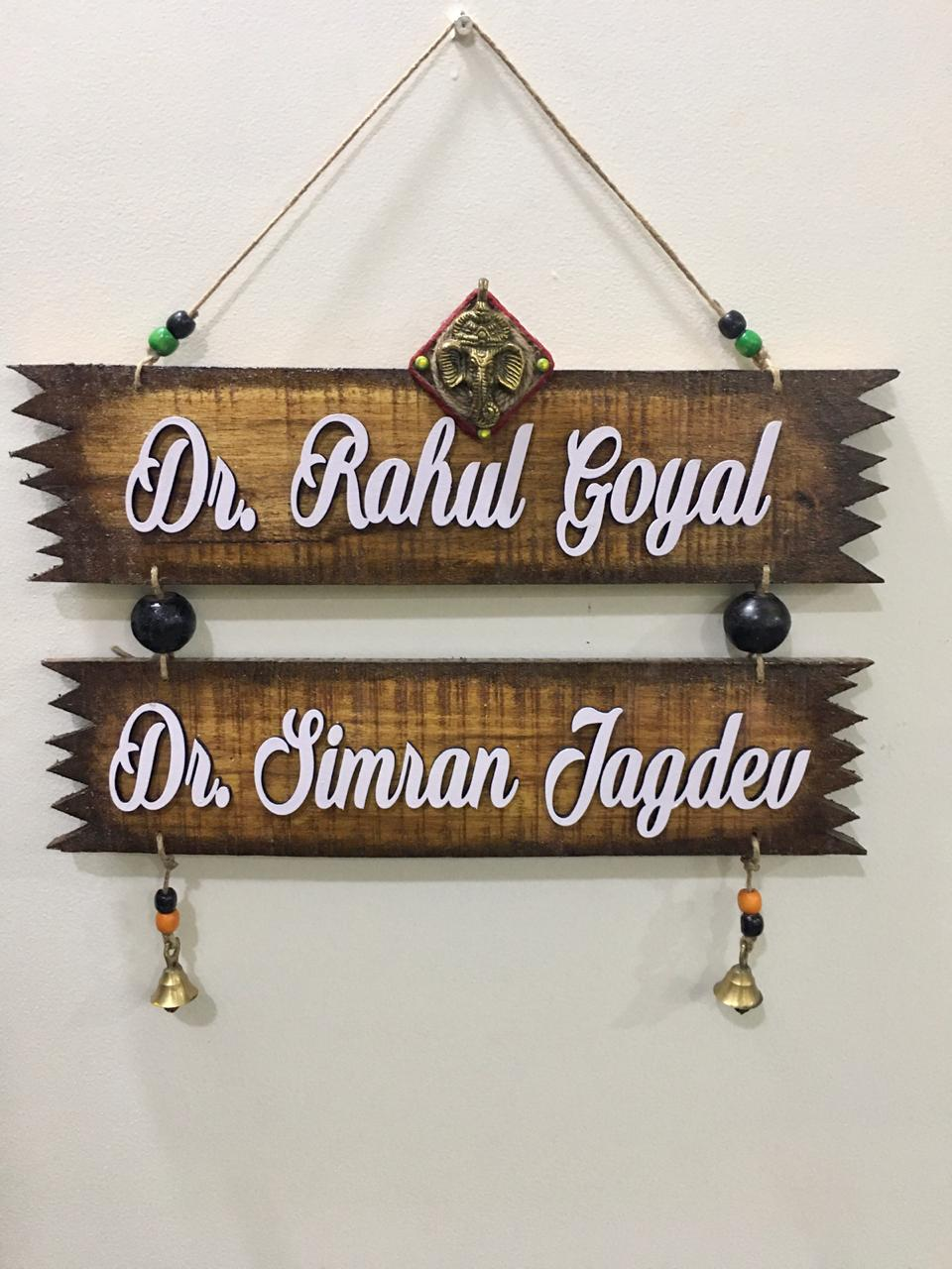 Zig Zag Twin Plank Natural Wood Name Plate  beautiful nameplate for house
