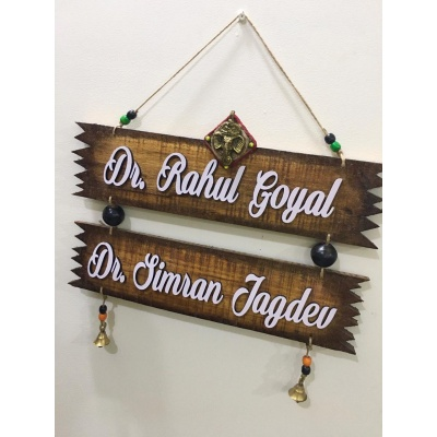 Zig Zag Twin Plank Natural Wood Name Plate  Customized nameplate